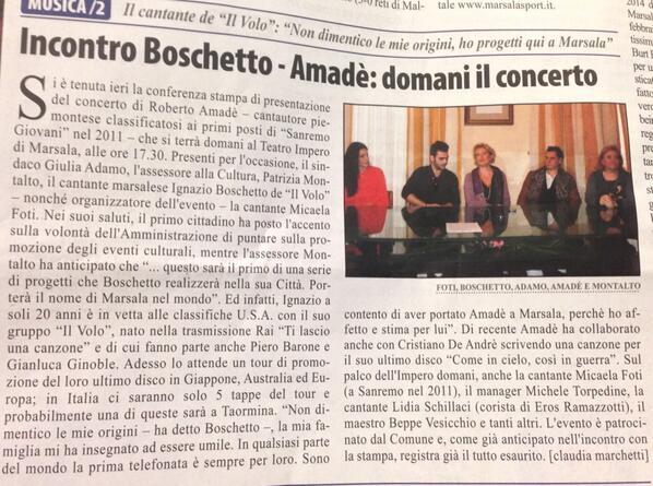 """News – Il Volo 2014 Tour from """"Incontro Boschetto-Amadé: Domani Il Concerto"""""""