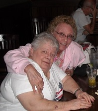 me (in pink) and Linda over Mojitos last winter.