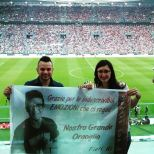 @caljuve2 banner for Piero in support during benefit soccer game Turin, Italy