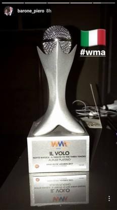first award Il Volo Platnum Album Notte Magica Verona /5-6/17