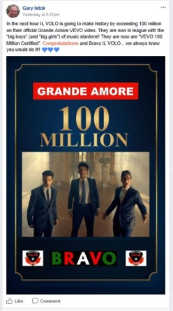 garys pic 2 100 million views of the Grande Amore VeVo video 10/9/17